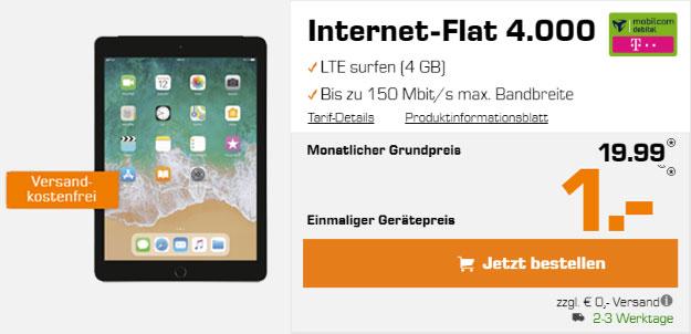 Apple iPad 2018 LTE + md Internet-Flat mit 4 GB LTE (Telekom-Netz) ab effektiv 3,03 € im Monat - wahlweise mit Pencil!