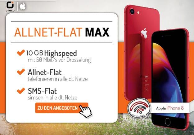 Apple iPhone 8 64GB + otelo Allnet-Flat MAX bei Preisboerse24