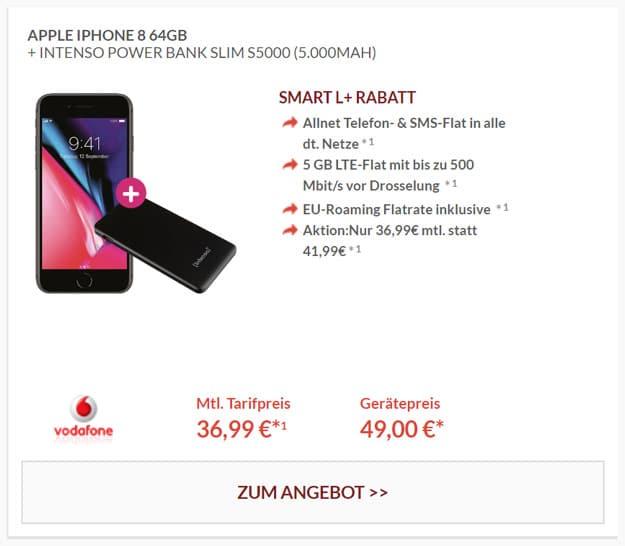 iPhone 8 64GB + Vodafone Smart L Plus ab effektiv 11,95 € im Monat (Allnet-Flat, SMS-Flat, 5 oder 7 GB LTE) + teilweise Powerbank!