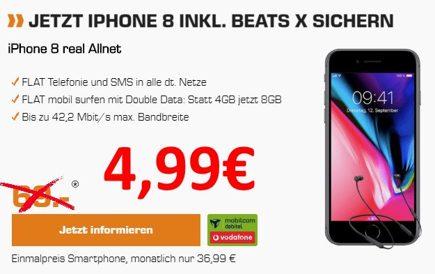 Apple iPhone 8 64GB + Beats X by Dr. Dre + Vodafone real Allnet (mobilcom-debitel) bei Saturn