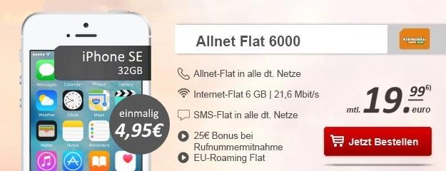 Apple iPhone SE 32GB + klarmobil Allnet Flat 6000 bei Handytick