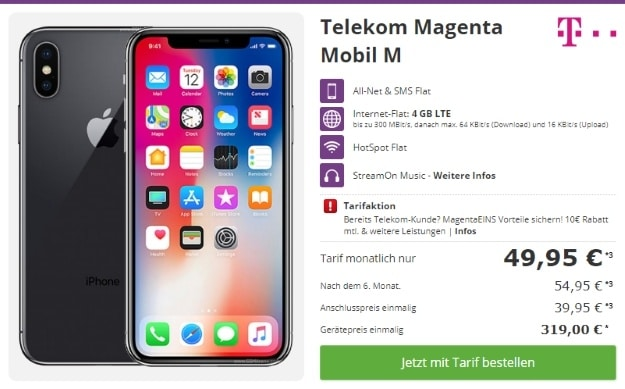 Apple iPhone X 64GB + Telekom Magenta Mobil M bei talkthisway
