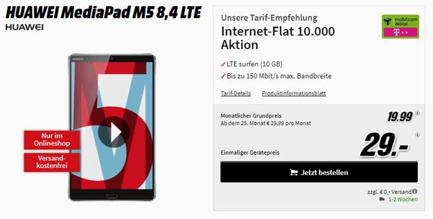Datenknaller! Huawei Media Pad M5 + Internet Flat 10.000 (md) für eff. 7,86 € im Monat - mit 10 GB LTE im Telekom-Netz!