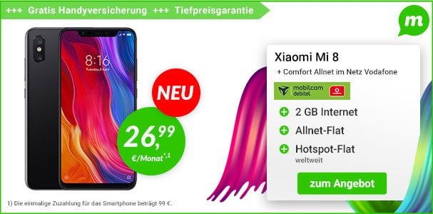 Xiaomi Mi 8 mit Vertrag: MIUI 10 mit Notch und Apple-Feeling - auch als Mi 8 SE & Mi 8 Explorer Edition!