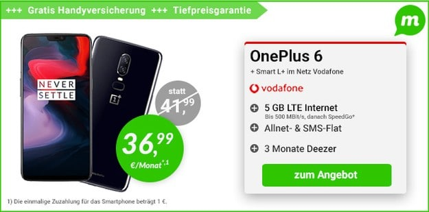 OnePlus 6 + Vodafone Smart L Plus bei mobildiscounter