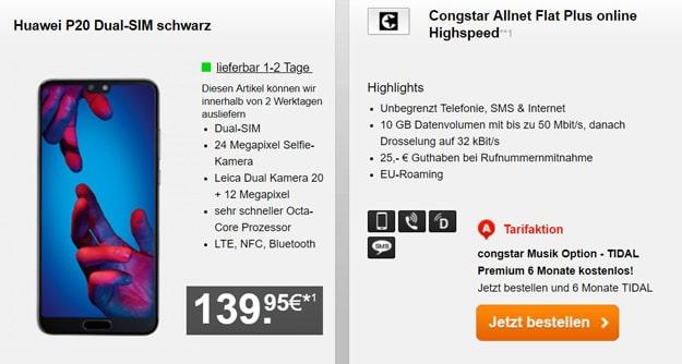 Huawei P20 / P20 Pro + congstar Allnet Flat Plus ab eff. 14,33 € mtl. (Allnet-Flat, SMS-Flat, 10 GB LTE, Telekom-Netz) + 25 € Wechsel-Bonus