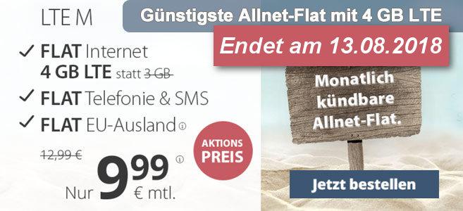 PremiumSIM Allnet-Fllat LTE 4 GB günstigster Tarif