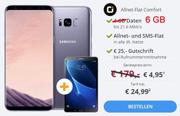 Samsung Galaxy S8 Plus + Galaxy Tab A 10.1 (2016) WiFi + otelo Allnet-Flat Comfort bei Sparhandy