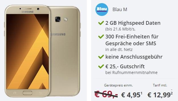 Samsung Galaxy A3 (2017) für 4,95 € + Blau M