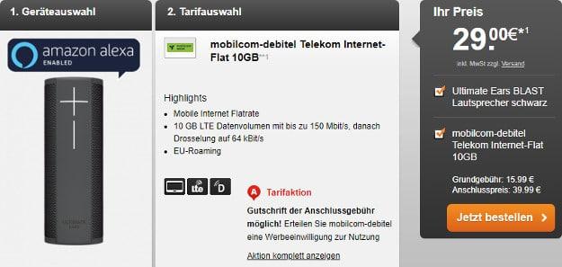 mobilcom-debitel Internet-Flat 10.000 (Telekom-Netz) + Ultimate Ears BLAST Lautsprecher bei LogiTel