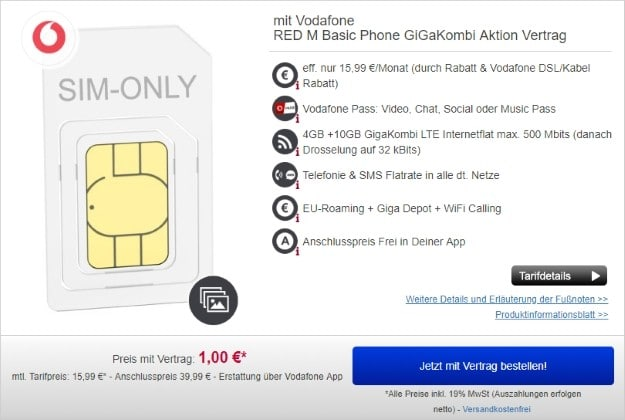 Vodafone Red M SIM-only + GigaKombi bei Handydealer24