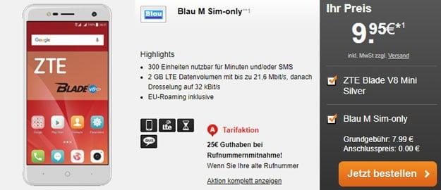 Schnäppchen! ZTE Blade V8 Mini + Blau M für 7,99 € Grundgebühr (300 Einheiten für Telefon/SMS, 2 GB LTE, o2-Netz) + 25 € Bonus!