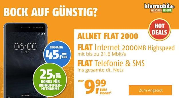 Nokia 6 mit klarmobil Allnet Flat 2000