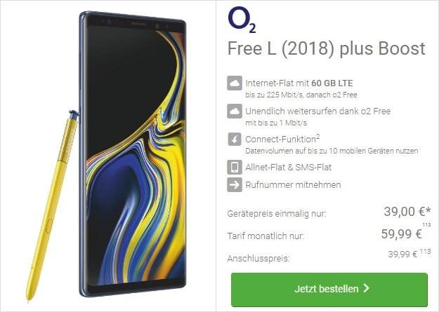 Samsung Galaxy Note 9 + o2 Free L Boost bei DeinHandy