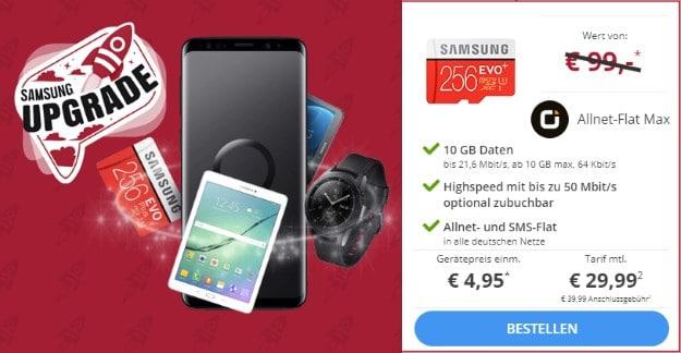 Samsung Galaxy S9 + Samsung Evo PLUS 256GB microSD + otelo Allnet-Flat Max bei Sparhandy