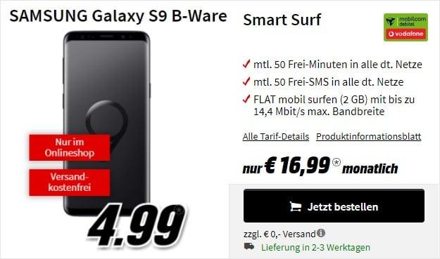 Samsung Galaxy S9 (B-Ware) + Vodafone Smart Surf (mobilcom-debitel) bei MediaMarkt