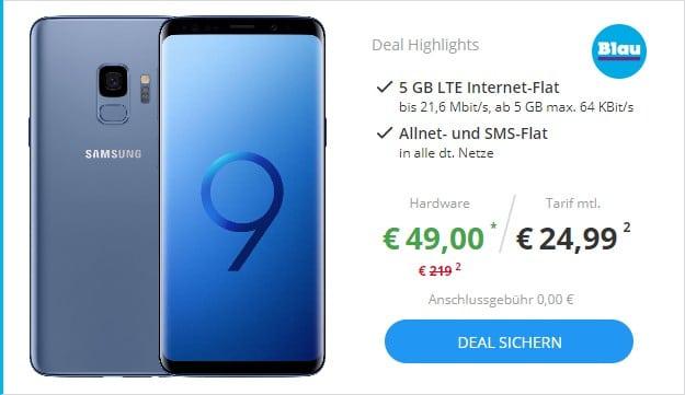 Samsung Galaxy S9 + Blau Allnet XL bei Sparhandy
