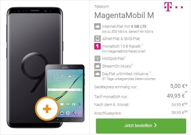 Samsung Galaxy S9 + Samsung Galaxy Tab S2 9.7 WiFi + Telekom Magenta Mobil M bei DeinHandy