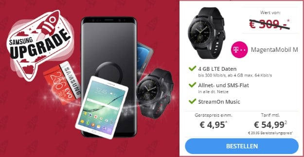 Samsung Galaxy S9 + Samsung Galaxy Watch (42mm) + Samsung Wireless Charger Duo + Telekom Magenta Mobil M bei Sparhandy