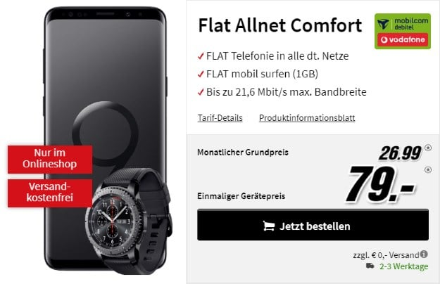 Samsung Galaxy S9 Plus + Samsung Gear S3 Frontier + Vodafone Flat Allnet Comfort (mobilcom-debitel) bei MediaMarkt