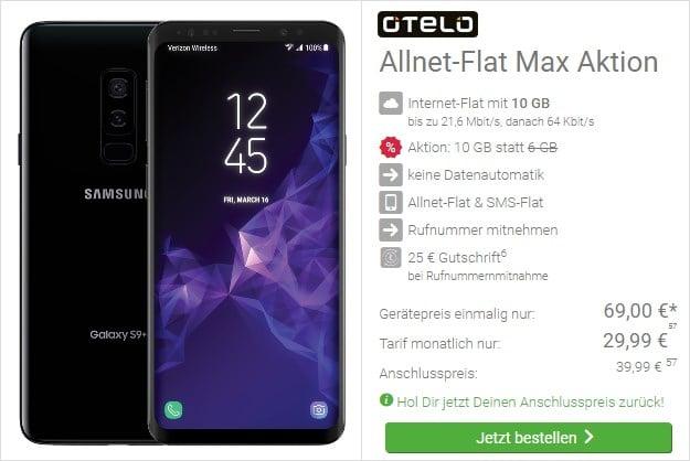 Samsung Galaxy S9 Plus + otelo Allnet-Flat Max bei DeinHandy