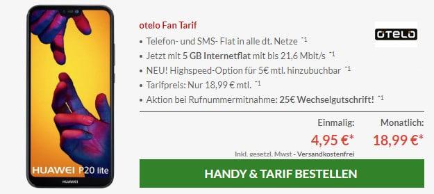 Huawei P20 lite + otelo Fan Tarif