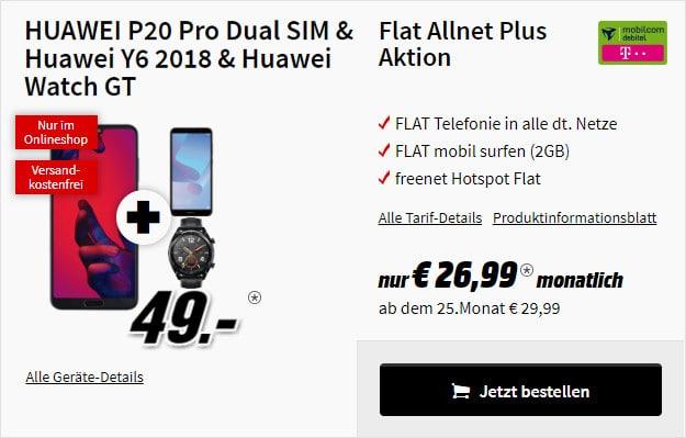 Huawei P20 Pro +Huawei Y6 2018 + Huawei Watch GT + md Flat Allnet Comfort Telekom