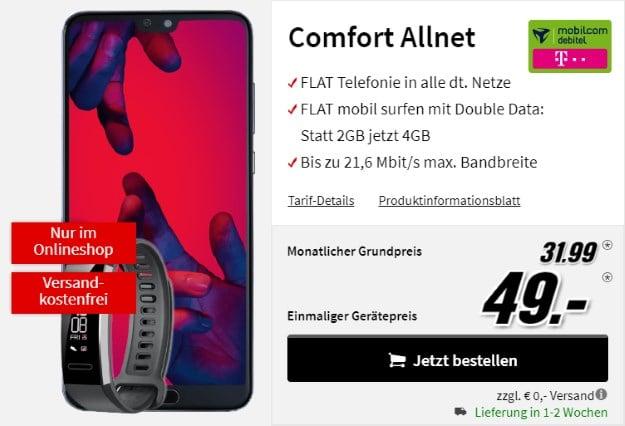 Huawei P20 Pro + Huawei Band 2 Pro + mobilcom-debitel Comfort Allnet (Telekom-Netz) bei MediaMarkt