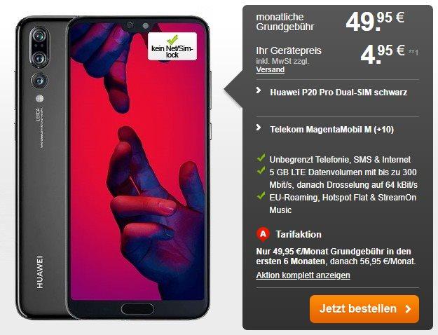 Huawei P20 Pro + Telekom Magenta Mobil M bei Handyflash