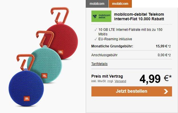 mobilcom-debitel Internet Flat 10.000 (10 GB LTE im Telekom-Netz) ab eff. 14,82 € mtl. - mit Lautsprecher oder 128GB microSD!