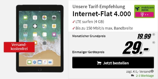 Apple iPad 2018 WiFi + Cellular 32GB + mobilcom-debitel Internet-Flat 4.000 (Telekom-Netz) bei MediaMarkt