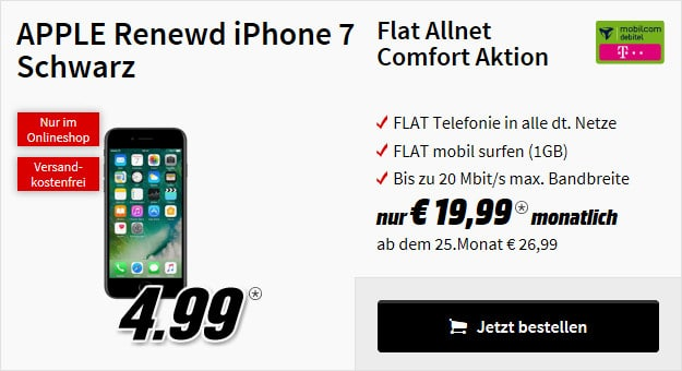 iPhone 7 Renewd + Flat Allnet Comfort Telekom (md)