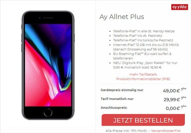 iPhone 8 + Ay Yildiz Ay Allnet Plus bei CepNet
