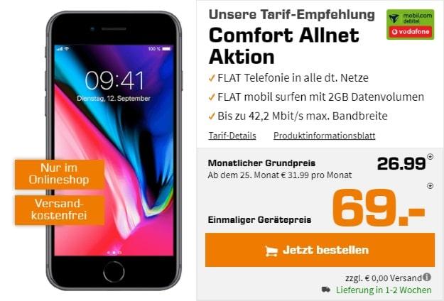 Apple iPhone 8 64GB + Vodafone Comfort Allnet (mobilcom-debitel) bei Saturn