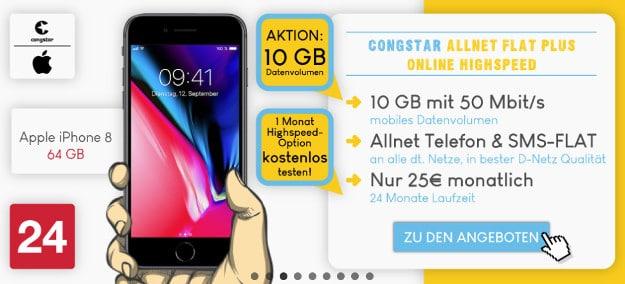 iPhone 8 + Nintendo NES Classic Mini + congstar Allnet Flat Plus bei Preisboerse24