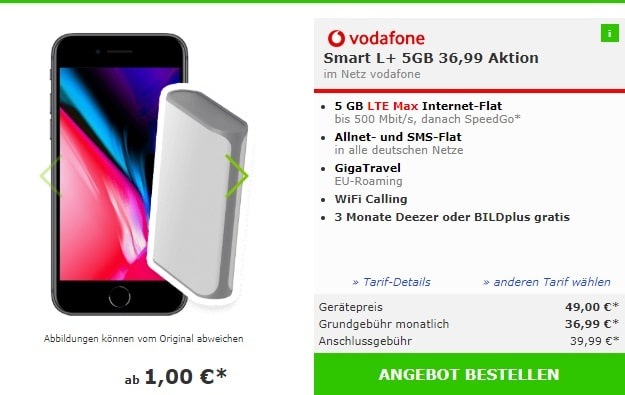 Apple iPhone 8 64GB Spacegrau + Denver 6000 mAh Powerbank + Vodafone Smart L Plus bei mobildiscounter