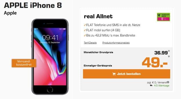 Apple iPhone 8 mit real Allnet mobilcom-debitel im Telekom-Netz