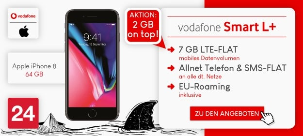 Apple iPhone 8 + Vodafone Smart L Plus bei Preisboerse24