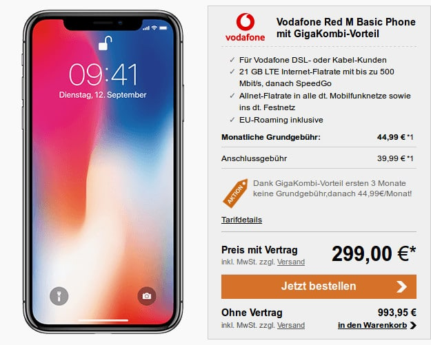 iPhone X + Vodafone Red M