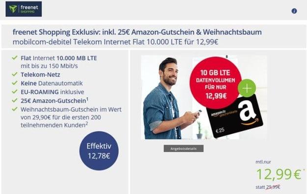 mobilcom-debitel Internet-Flat 10.000 (Telekom-Netz) + 25 € Amazon-Gutschein