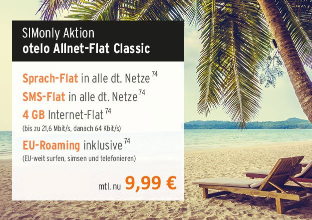 Hammer! otelo Allnet-Flat Classic für rechnerisch 9,99 € im Monat (Allnet-Flat, SMS-Flat, 4 GB, LTE für 5 € mtl., Vodafone-Netz)