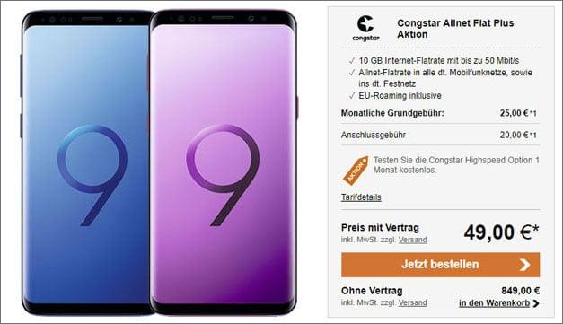 Galaxy S9 oder S9 Plus + congstar Allnet Flat Plus