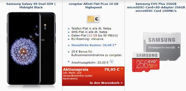 Krass! Samsung Galaxy S9 + congstar Allnet Flat Plus für eff. 5,79 € mtl. (Allnet-Flat, SMS-Flat, 10 GB LTE, Telekom-Netz) + 256GB-microSD