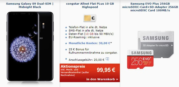 Klasse! Galaxy S9 / S9 Plus + congstar Allnet Flat Plus ab effektiv 8,41 € mtl. (Allnet- & SMS-Flat, 10 GB LTE, Telekom-Netz)