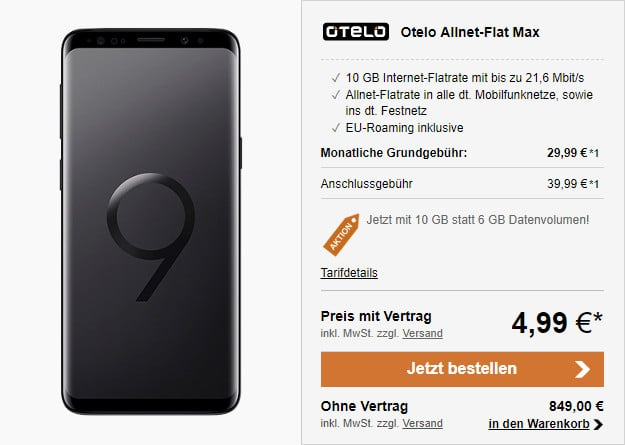 SAMSUNG GALAXY S9 PLUS RECHNUNG