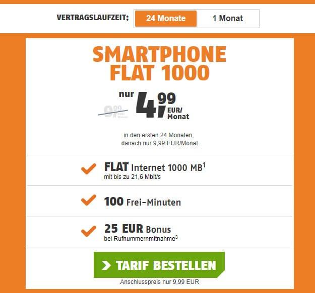smartphone flat klarmobil 1 gb vodafone