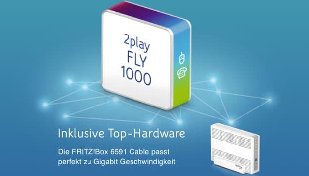 Gigabit Speed! Unitymedia 2play Fly 1000 für 99,99 € mtl. Grundgebühr (bis zu 1 GBit/s!) + FRITZ!Box 6591 Cable