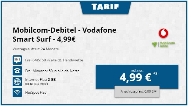 Vodafone Smart Surf (mobilcom-debitel) bei Tophandy