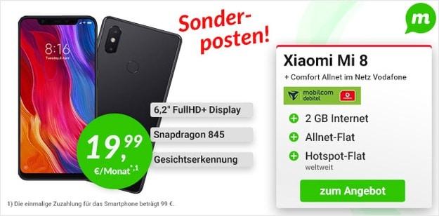Xiaomi Mi 8 + Vodafone Comfort Allnet (mobilcom-debitel) bei mobildiscounter