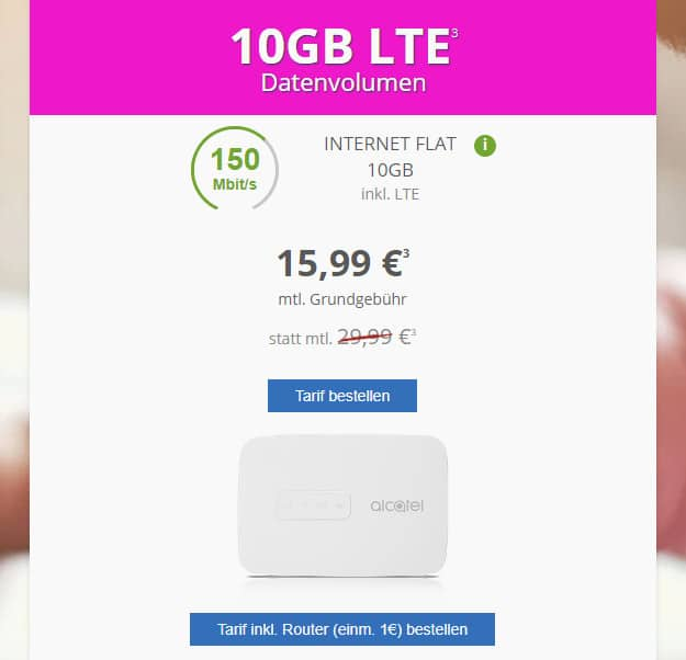 10 GB LTE Datenflat + LTE-Hotspot